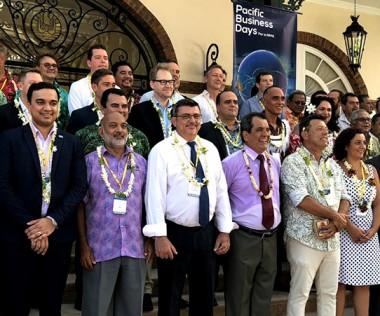 Le président de la Polynésie française, Édouard Fritch, ici aux côtés du président du gouvernement Philippe Germain, a ouvert les Pacific Business Days.