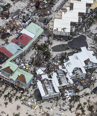L'île de Saint-Martin après le passage de l'ouragan Irma.