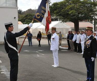 Le général Christophe Marietti (au centre) a été officiellement reconnu dans ses fonctions par le général de division Lambert Lucas, commandant de la gendarmerie en outre-mer (©Gendarmerie).