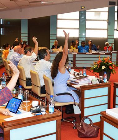 Les élus du Congrès, lors du vote des derniers textes de l'année 2018. © Congrès NC