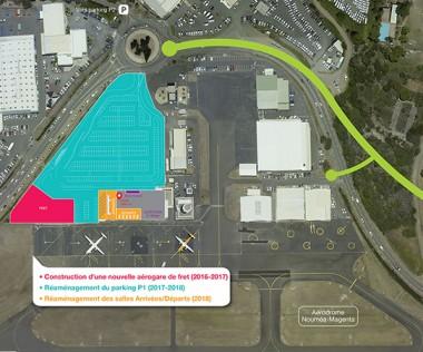 La mise en conformité de la piste de Magenta nécessite la déviation de la RP14 (tracé en vert) entre le rond-point de l'aérodrome et celui du lotissement Green Valley.