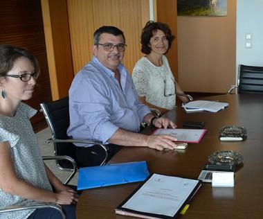 Jacques Guérin et Matthieu Mourou (ici à droite) ont été reçus par Philippe Germain et une délégation de la direction des Affaires vétérinaires, alimentaires et rurales (Gérard Fallon, Valérie Campos et Coralie Lussiez).