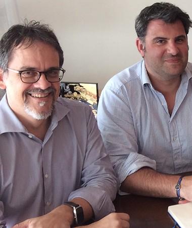 Philippe Dunoyer, aux côtés des représentants de l'Agence du numérique, Matthieu Pasini, au centre, et Laurent Laluc, à droite.