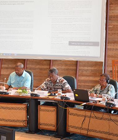 Jean-Pierre Djaïwé, membre du gouvernement en charge des questions environnementales, a eu l'honneur de lire la Déclaration de Vemööre, depuis la Communauté du Pacifique (CPS) à Nouméa.