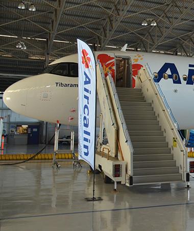 L'A320neo Tibarama a été dévoilé le 28 décembre aux officiels dans le hangar technique d'Aircalin.