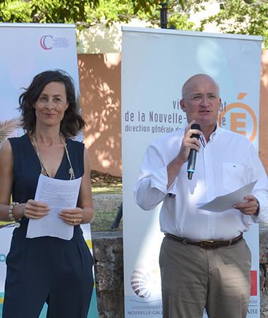 Le membre du gouvernement Yoann Lecourieux, Valérie Meunier (CREIPAC), Isabelle Arellano et Érick Roser (vice-rectorat) ont ouvert les Journées francophones du Pacifique.