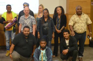 Les lauréats de l'appel à projets Artistes du Pays lors de l'avant-première du clip « Je compte sur toi » proposé par un collectif d'artistes mené par la chanteuse et compositrice, Tyssia.