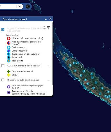 La carte interactive CAVAD-NC est accessible à l'adresse http://carto.cavad-nc.georep.nc