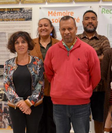 « Mémoire des anciens » a été présenté par l'équipe en charge du projet, en présence de la directrice de la Protection judiciaire de l'enfance et de la jeunesse, Jena Bouteille (2e rang à g.), et du membre du gouvernement, Didier Poidyaliwane (2e à g.).
