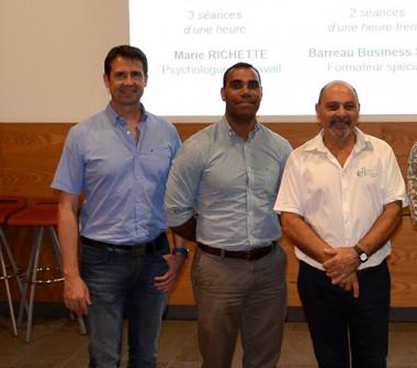Sébastien Lemoine, chargé de mission sécurité au gouvernement, Thierry Xozame et Philippe Di Maggio de la DTE ont présenté les nouveaux dispositifs aux représentants du BTP lors d'une Matinée de la prévention.