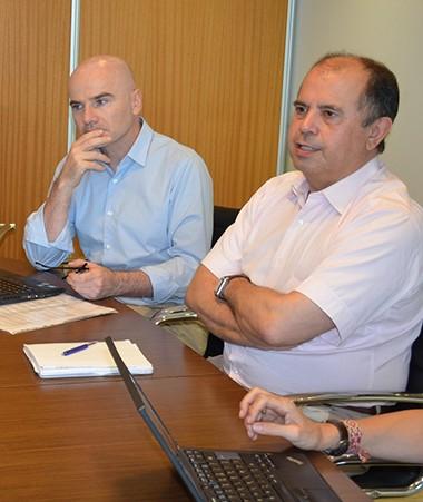 La délégation est conduite par Étienne Apaire (à droite), inspecteur général de la justice.