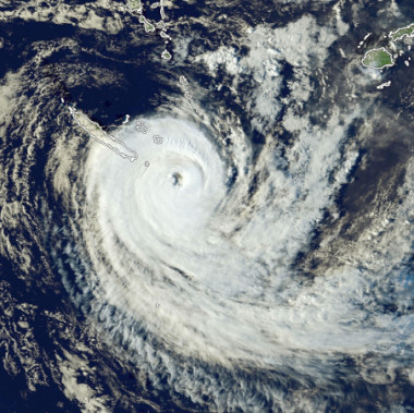Image satellite du cyclone Gita qui a balayé les Tonga en février 2018.