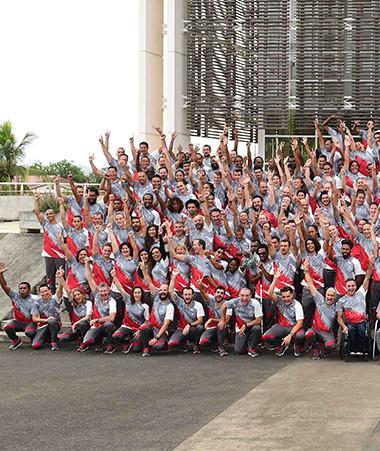 La photo officielle de la délégation de la Nouvelle-Calédonie. Y'a d'la joie ! © Eric Bua/CTOS1