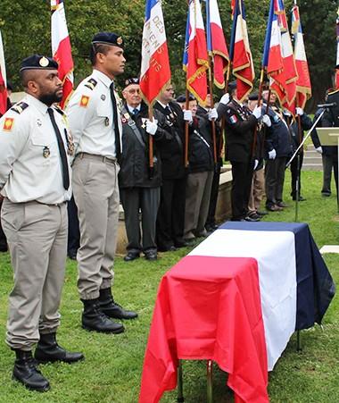 Les hommages militaires ont été rendus à Kalepo Wabete lors de l'exhumation de sa dépouille (©Préfecture de l'Aisne).