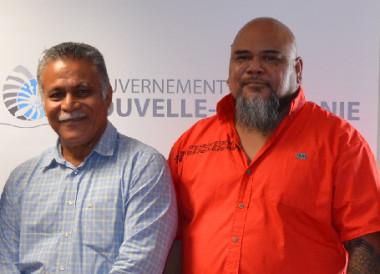 Raphaël Larvor, directeur de cabinet adjoint à la présidence du gouvernement, Atoloto Kolokilagi, président de l'assemblée territoriale de Wallis-et-Futuna, Vaimu'a Muliava, membre du gouvernement, Bernard Deladrière, conseiller spécial de Thierry Santa.