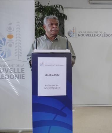 Louis Mapou s'est adressé aux calédoniens le 15 octobre sur la suite des mesures, en présence de Rémi Bastille.