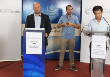 Xavier Benoist, Christopher Gygès et David Guyenne au point presse du 15 avril dédié à lactivité économique.