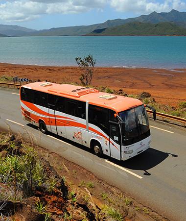 Reconnaissable à sa livrée orange et à son petit lézard, le Raï sillonne la Grande Terre depuis 2014. ©Laurent Lange-SMTI