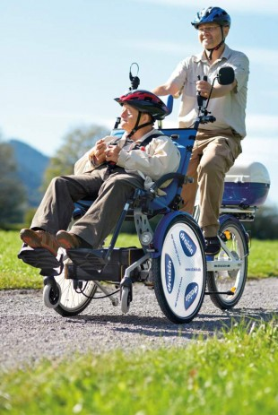 Modèle de tricycle à assistance électrique qui permettra aux personnes lourdement handicapées de se promener sur les boucles de Tina ou promenade Pierre-Vernier. © Draisin