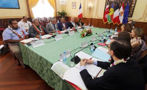 La dernière réunion du comité directeur du Fonds Pacifique, en février à Papeete. Le membre du gouvernement Yoann Lecourieux y représentait le président du gouvernement de la Nouvelle-Calédonie.