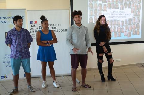 Simon, Yvana, Romuald et Ashley ont pris la parole au nom des élèves pairs.