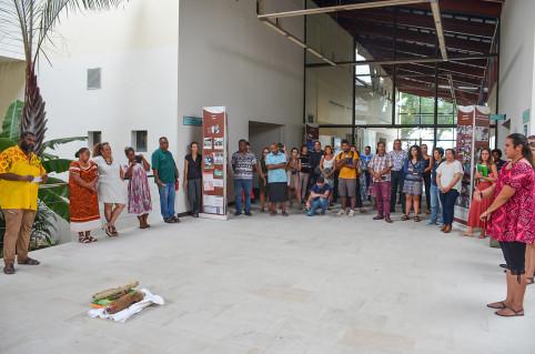 La séquence ministérielle s'est achevée par une coutume de l'aire Djubéa-Kaponé à la délégation de Wallis-et-Futuna, puis à la CPS qui a accueilli l'événement en présentiel.
