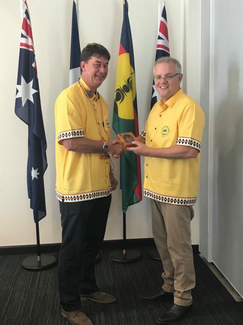 Thierry Santa en compagnie de Scott Morrison, Premier ministre australien.