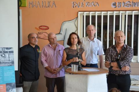 Isabelle Champmoreau, Philippe Blaise, 1er vice-président de la province Sud, Érick Roser, vice-recteur et Jean-Luc Bernard-Colombat, directeur de la DAFE pour l'enseignement agricole.
