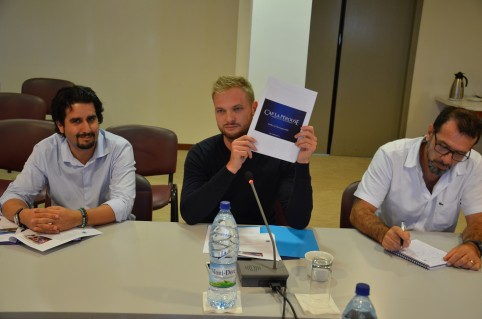 Nicolas Metzdorf et les représentants de la filière pêche ont présenté la stratégie d'export à la presse le 23 mai.