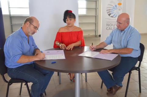 Philippe Gervolino, président de lOPT-NC, Betty Levanqué, présidente de la BANC et Yoann Lecourieux, président du CA de lOPT-NC.