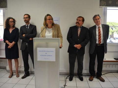 La présidente entourée du reste du collège, qui pourra statuer en formation de trois membres, et de la rapporteure générale (à g.).