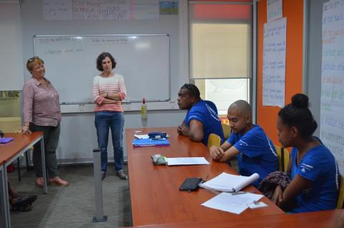 Nathalie Tirebaque, directrice de l'École de la réussite, et Florence Lemaire, de la DFPC, ont échangé avec les stagiaires.