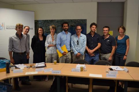 Les chefs de file (CANC, ADECAL, DAVAR, CEN) et leurs animateurs, aux côtés de Julie Petit et d'Angèle Armando, de l'équipe-projet PROTEGE de la CPS.
