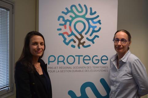 Angèle Armando (à g.), chargée de communication PROTEGE et Julie Petit (à d.), coordinatrice territoriale du projet.