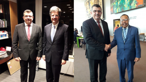 À gauche, Philippe Germain avec François Delattre, représentant permanent de la France auprès des Nations unies. À droite, avec Max Hufanen Rai, représentant permanent de la PNG.