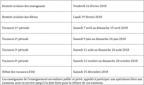 Un nouveau calendrier scolaire dès 2018