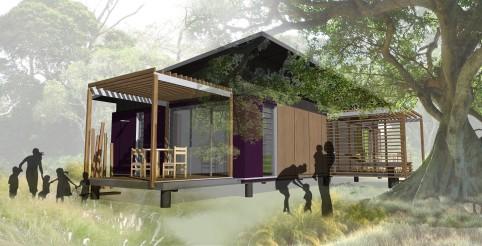 Un exemple de bungalow avec trois chambres.