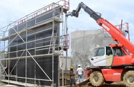 Le chantier de construction de la quarantaine animale, à Païta.
