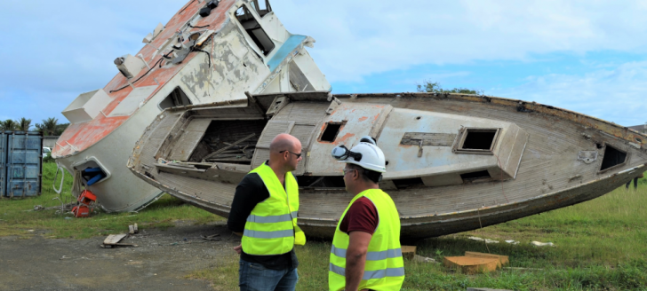Christopher Gygès, membre du gouvernement en charge de l'économie de la mer, s'est rendu sur le terrain pour découvrir les dessous du démantèlement de navires.