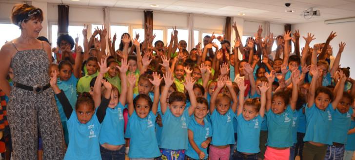 Lors de la remise des prix « La Route et moi », au premier plan, les petits de la maternelle Les Œillets.