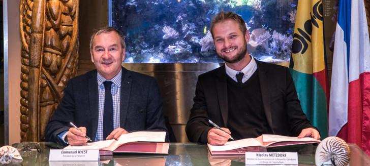 Emmanuel Hyest, président de la Fédération nationale des Safer, et Nicolas Metzdorf, à la Maison de la Nouvelle-Calédonie, à Paris, le 10 décembre.