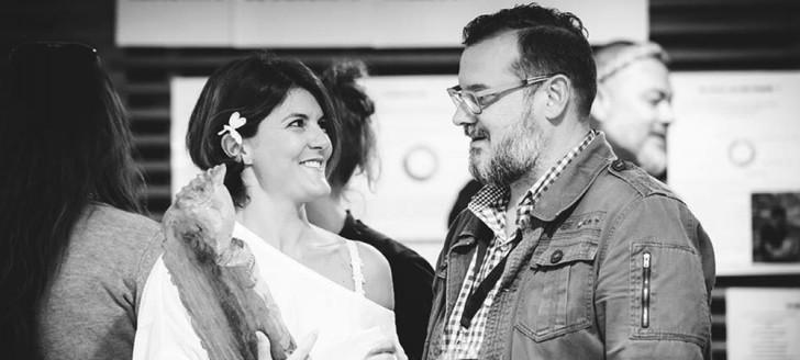 Jenny Briffa et son éditeur, Gilbert Bladinières (Madrépores). (c) D. Mayeur, SILO - CCT, 2018