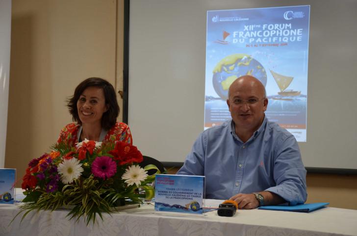 Yoann Lecourieux, membre du gouvernement notamment en charge de la francophonie et Valérie Meunier, directrice du CREIPAC, ont présenté le 12e Forum francophone du Pacifique, mercredi 28 août.