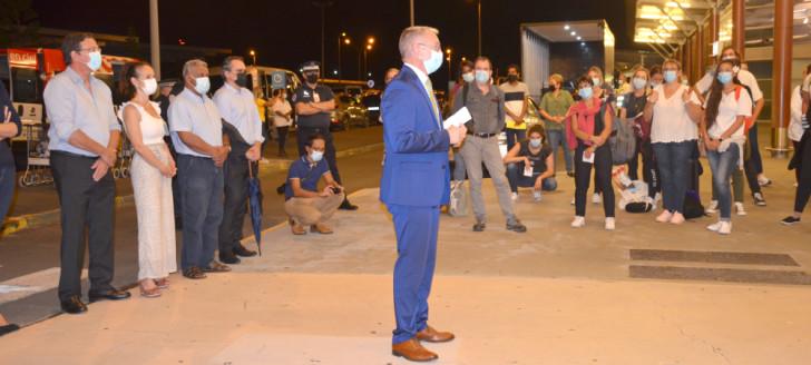 La solidarité nationale accueillie par les élus calédoniens et le haut-commissaire de la République le 3 octobre.