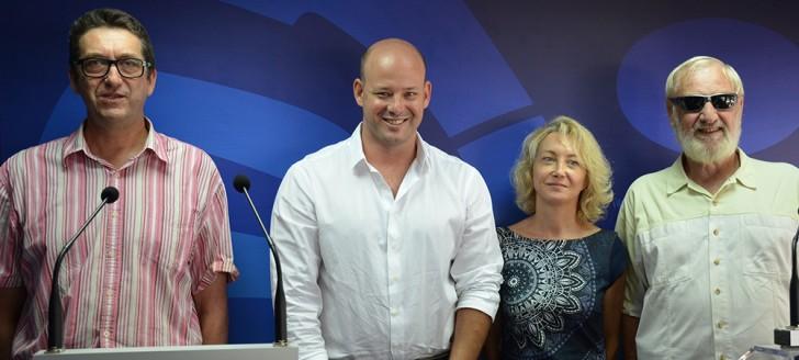 De gauche à droite : Philippe Roux (MCI), Christopher Gyges (gouvernement), Catherine Peyrache et Richard Fournier (Collectif Handicaps).