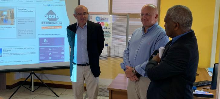 Le membre du gouvernement Yoann Lecourieux et le haut-commissaire Laurent Prévost ont inauguré les locaux de la Continuité territoriale Nouvelle-Calédonie, jeudi 20 février.